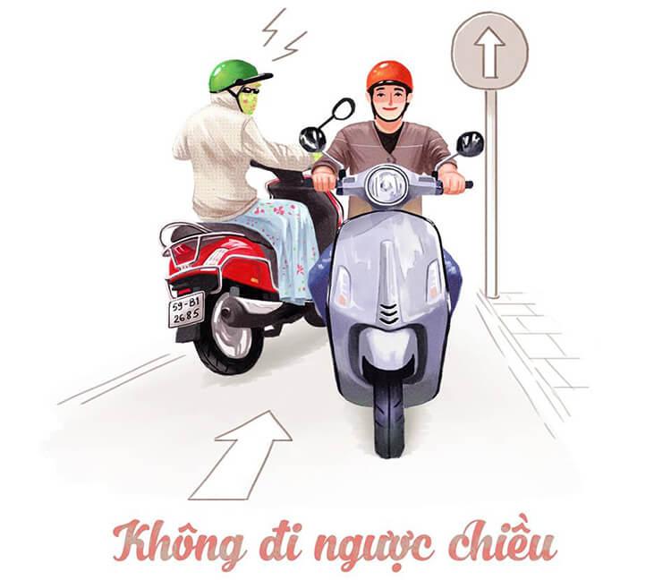 Mức phạt tiền khi đi xe máy ngược chiều