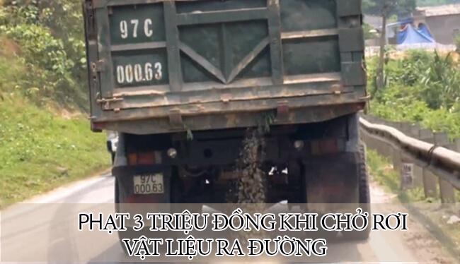 Ô tô chở vật liệu làm rơi xuống đường bị phạt tới 3 triệu đồng
