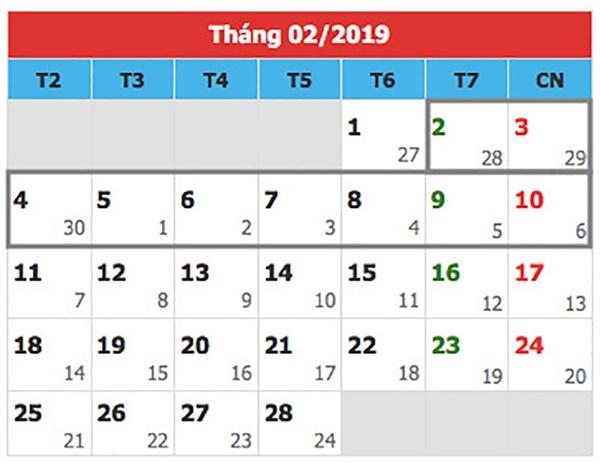 lịch nghỉ Tết âm 2019